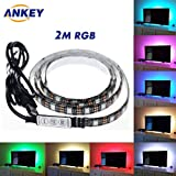 ANKEY TV LED posteriore di illuminazione Kit, 200 centimetri 5V Striscia USB RGB LED Flessibile Impermeabile Bias Illuminazione per HDTV e PC Monitor,Schermo LCD, Laptop, Desktop PC