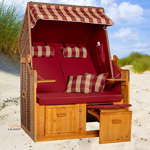 Strandkorb Ostsee bordeaux, Geflecht natur, Variante A, inkl. Haube, LILIMO ® - 2