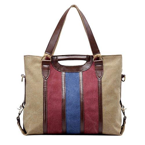 Leinwand Damen Mode Nähen Streifen Große Kapazität Wearable Atmungsaktiv Handtasche Taschen Brown2