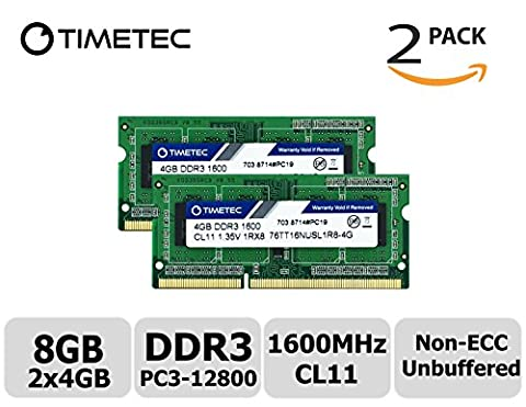 Timetec Hynix IC 8GB Kit (2x4GB) DDR3 1600MHz PC3-12800 Unbuffered Non-ECC 1.35V CL11 1Rx8 Single Rank 204 Pin SODIMM Laptop Notebook Computer Memory Ram Module Upgrade (8GB Kit (2x4GB))
