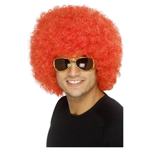 Perruque rouge afro disco adulte