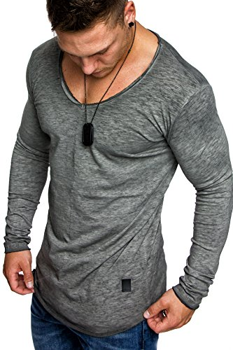 Amaci&Sons Oversize Herren Vintage Longsleeve Verwaschen V-Neck Sweatshirt Basic V-Ausschnitt Shirt 6071 Anthrazit M