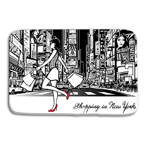 980 uiyp Print Plush Bathroom Decor Mat with Non Slip Backing Coral White 15.7 x 23.6 Shopping Times Square New York Night All ads imagi