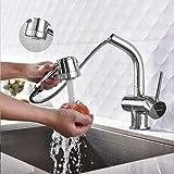 BONADE Küchenarmatur ausziehbare Brause mit 2 Strahlarten  Schwenkbereich 360° wasserhahn küche spülbecken armaturen, chrom