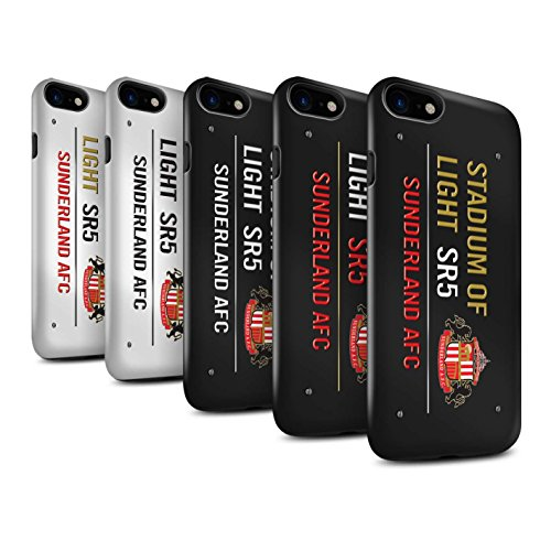 Officiel Sunderland AFC Coque / Brillant Robuste Antichoc Etui pour Apple iPhone 8 / Noir/Or Design / SAFC Stadium of Light Signe Collection Pack 6pcs