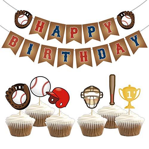 KREATWOW Baseball Party Dekorationen gehören Baseball Alles Gute zum Geburtstag Banner und 24 Cupcake Toppers für Jungen Geburtstag Baby Shower Baseball Motto Party