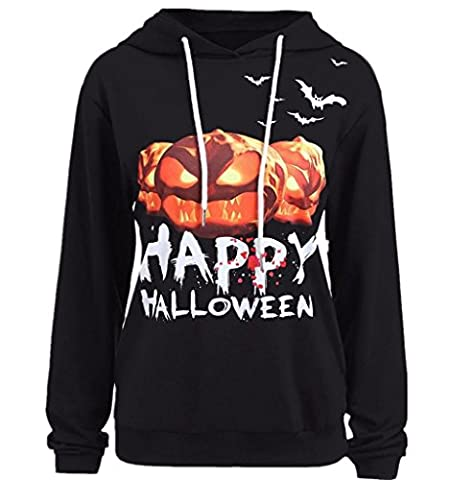 Paolian Femmes Halloween Citrouille Imprimer Manches Longues Sport Pull Sweatshirt Occasionnel (M, Noir)