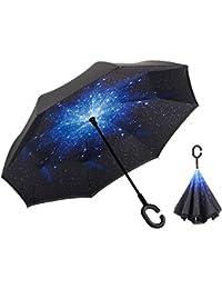 RGTOPONE Tela De Doble Capa Paraguas Invertido Secado Rápido Manos Libres Paraguas Protección Uv a Prueba De Viento Grande Para Auto Viaje Al Aire Libre, Diseño De Costillas Reforzadas