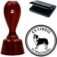 Esclusivo ex libris timbri « Australian Shepherd » rotondo mogano colori con timbro cuscino exlibris exlibris–Cane animale domestico cappelli cane