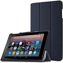 Funda para Nuevo tablet Fire HD 8 2017 / Nuevo Fire HD 8 2016(6ª generación, modelo de 2016), Infiland Ultra Delgada Tri-Fold Case Cover PU Cuero Cascara con Soporte para Nuevo Fire HD 8 2017 (7ª generación) / Nuevo Fire HD 8 2016 (6ª generación)(Azul Oscuro)