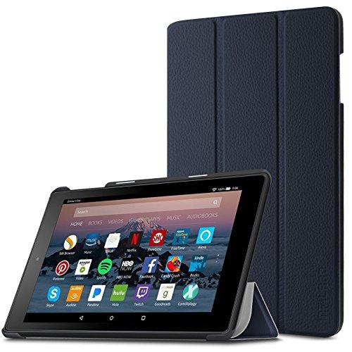 Infiland Hülle für Fire HD 8 Tablet, Ultra Smart Slim Lightweight Schutzhülle mit Auto Schlaf/Wach Funktion Cover für Fire HD 8 Tablet (6. 7. und 8. Generation - 2016, 2017 und 2018)(Dunkleblau) -