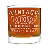 Spotted Dog Company Vintage 1930 Etched 11oz Whiskey Rocks Glass - 90th Birthday Aged to Perfection - 90 Years Old Gifts Bourbon Scotch Lowball Old Fashioned