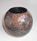 "designgrab ""Kugel"" Kugelvase Grabvase aus Granit Gneis Halmstad / Barap / Hollandia Friedhofsvase Grabschmuck Kugelgrabvase rund"