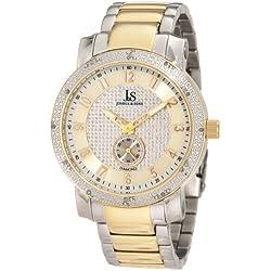 Joshua & Sons Reloj de pulsera de diamantes de acero inoxidable para hombre