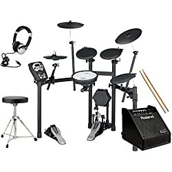 Roland TD-11K V-Drums & PM-10 Personal Monitor Electronic Drum Kit Pack Includes : Stool, Sticks, Headphones, Bass Drum Pedal