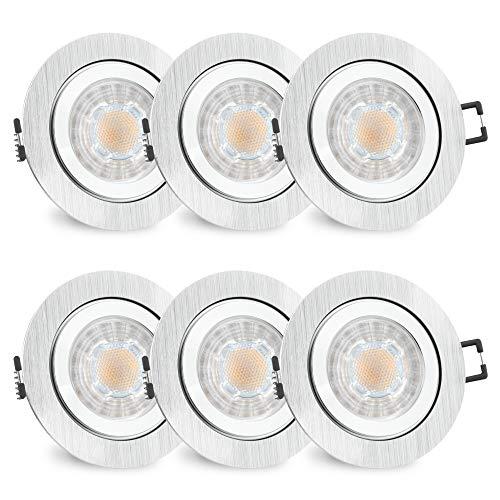 Rw-3 Farbe (6er Set RW-2 Bad Einbaustrahler GU10 LED - inkl. wechselbarem LED GU10 3W warmweiß - 6x Spot gebürstet rund IP44 Bad & Küche)