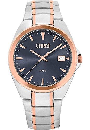 CHRIST times Herren-Armbanduhr Analog Quarz One Size, schwarz, bicolor/schwarz