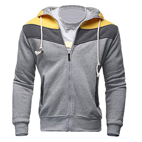 (Xmiral Herren Herbst Winter Sweatshirt Lässige Reißverschluss Langarm Spleißen Hoodie Mantel (L,Grau))