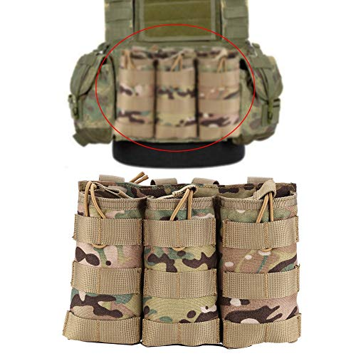 Molle Magazintasche Triple Mag Pouch, Airsoft Magazintasche Taschenhalter Molle Tasche Magazin Pouch Tactical Jagdkampf Triple Molle Pouch Taktische Molle Mag Pouch Mit Bungee System