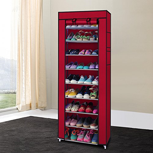 Okayji 10 Tiers Portable Shoes Rack with Dust proof Cover Shelf Storage Closet Organizer Cabinet Shoe Racks, Maroon