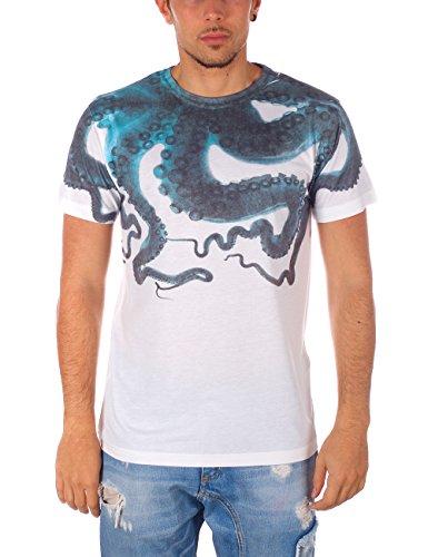 MEL Factory Octopus, T-Shirt Uomo, Bianco, Small (Taglia Produttore:S)