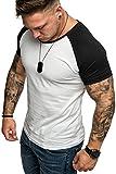Amaci&Sons Oversize Doppel Farbig Herren Slim-Fit Crew Neck Basic T-Shirt Rundhals 1-0004 Weiß/Schwarz M