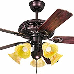 Antique Decorative Ceiling Fan Chandelier Carved Wood Leaf Fan Lights