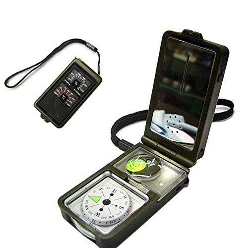 Aseun Outdoor Multifunction 10 in 1 Military Camping Survival Compass With Hygrometer Led Light Thermometer magnifying glass whistle Flint Fire Starter