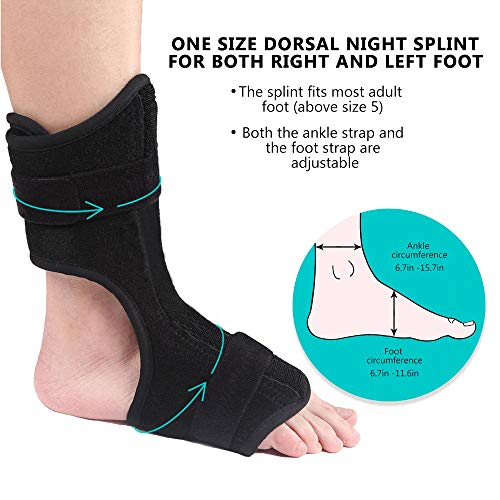 MASIKI Plantar Fasciitis Night Splint - Drop Foot Brace and Dorsal Planter Fasciitis Night Splint for Right or Left Foot. Night Splints Support Sleep, Recovery, Tendonitis, Arthritis (Black)