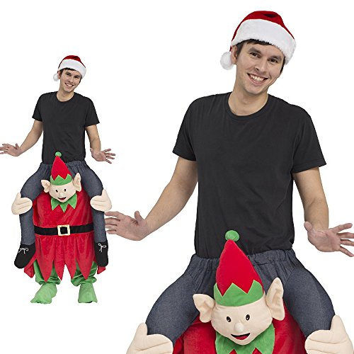 Piggyback Kostüm Herren Wichtel Weihnachten Ride On Trag mich Maskottchen JGA Stag (Weihnachts Maskottchen Kostüme)