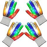2 Paar Leuchtende LED Handschuhe Party Licht Handschuhe Bühne Leistung Neuheit Weihnachten Halloween Handschuhe Kostüm Party Konzert für Kind Jugendliche Mädchen