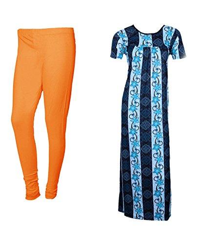 IndiWeaves Women Premium Nighty and Legging Combo Pack(Pack of 1 Nighty/Maxi and 1 Churidar Legging)_Orange/Blue_Size-Small_7105273210-01-IW-P2-S