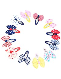 Mixed Bow-tie Kids Cotton Hair Snap Clips 12 Piece (Multicolour)