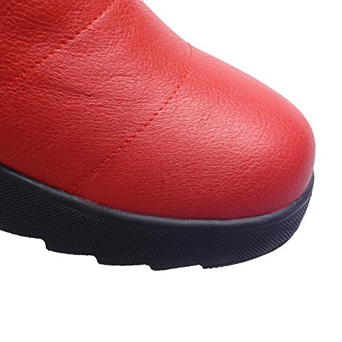 VogueZone009 Femme Couleur Unie à Talon Correct Rond Zip Bottes Rouge