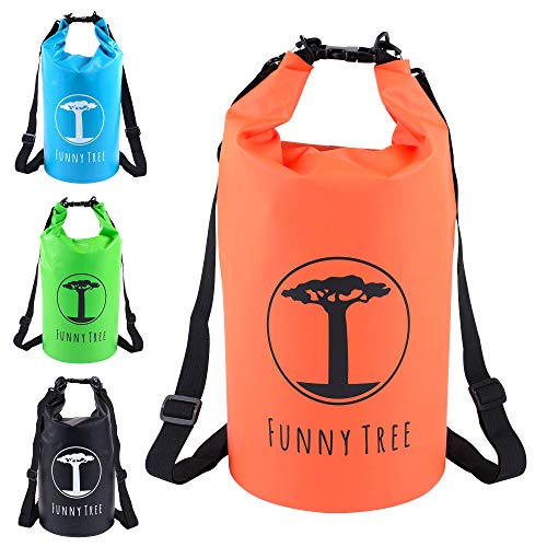 Funny Tree® Drybag. (20L orange) Wasserdichter (IPx6), verbesserter DryBag. Inklusive Wasserdichter Handy-Hülle | Stand Up Paddle | Angel Zubehör | schwimmfähig | Sling Bag | Ski-Fahren | Snow-Boarden