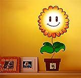 PLYY Bande Dessinée Creative 3D Enfants Chambre Papier Peint Fleur Façade Chambre LED Lampe de Chevet Décor À La Maison Mur Autocollant Veilleuse, 2