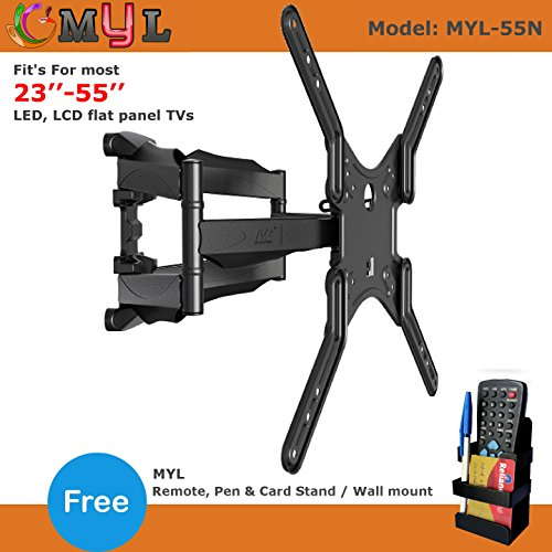ABISHA ENTERPRISES 6 Way Dual Arm Swivel Tilt TV Wall Mount for LCD/LED TV's Upto 32-55-inch with VESA 400mm MYL-55N Remote Stand(Multicolour)