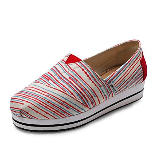 Lippen Schüttelne Sneakers Weiche Damen Aufzug On Streifen Muster Bequeme Lässige Dicke Neue Rot Sohle Plateau Slip Mokassins n11XqAHT