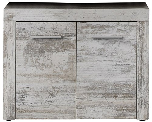 trendteam smart living Badezimmer Waschbeckenunterschrank Unterschrank Cancun Boom, 72 x 56 x 34 cm in Pinie Canyon White (Nb.) mit Siphonausschnitt -