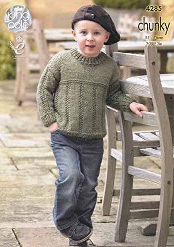 Best Sellers Free eBook King Cole Magnum Chunky Knitting Pattern Childrens Ribbed Detail Sweater & Cardigan (4285)