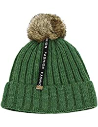 Webla Bonnet Hiver de Boule de Poils Enfant Bébé Garçons Filles Garder Au  Chaudes Tricot Crochet Chapeau Infantile… 1121bf654a6
