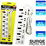6 Socket (Port) Surge Protector Spike Guard |Extension Cord, Board Power Strip With Fuse Surge Protector 6+, 6Amp 240V 3-5 Meter Long Wire, 6 Switch With Led Light, Multiple Sockets,| Sockets: 6 | Wire Length: 3 Meter | Switches: 6 Individual | Indicator