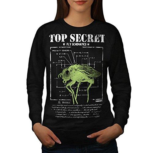 meilleur-secret-mouche-insecte-capteur-femme-nouveau-noir-l-sweat-shirt-wellcoda
