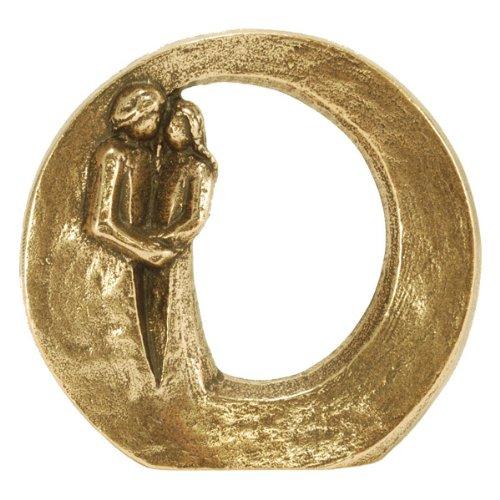Figur aus Bronze mit einem Liebes-Paar -Du bist geborgen - zum Hinstellen; 9 cm Durchmesser - ein besonderes kleines und exlusives Geschenk. Design: orig. Andrea Zrenner (Paar Bronze Figur)