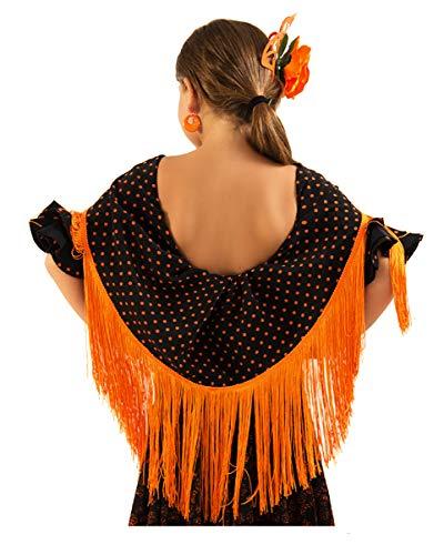 ANUKA Mantón con lunares pequeños para la danza flamenca o sevillanas (Negro/naranja)