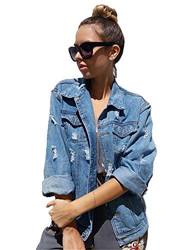 Minetom Damen Herbst Beiläufig Stilvoll Button Down Denim Gewaschene Mit Patches Jean Jacket Mantel Lose Jeansjacke Outwear (DE 40, Dunkelblau)