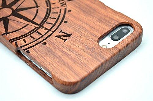 Holzsammlung® iPhone 7 Holzhülle - Rosenholz und PC - NatürlicheHandgemachteBambus / Holz Schutzhülle für Ihr Smartphone Palisander-Kompass