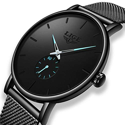 LIGE Herrenuhr Mode Wasserdichtes Minimalistische Edelstahl Armband Männer Sport Analoger Quarz Schwarz Klassische Unisex Uhren mit Chronograph Kalender