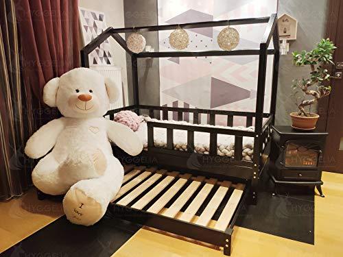 Hyggelia Kinderbett Bed House mit Barrieren und einem zweiten Bett Bonnie Holzbett für Kinder Schlafzimmermöbel Cottage Bett für Jugendliche Holz Cottage Bett 2 in 1 (90 x 190cm (Twin Size), Natürliches Holz) - Cottage Bed-twin Bed