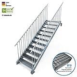 Außentreppe 11 Stufen 100 cm Laufbreite - beidseitiges Geländer - Anstellhöhe variabel von 183 cm bis 220 cm - Gitterroststufe ST2 - feuerverzinkte Stahltreppe mit 1000 mm Stufenlänge als montagefertiger Bausatz